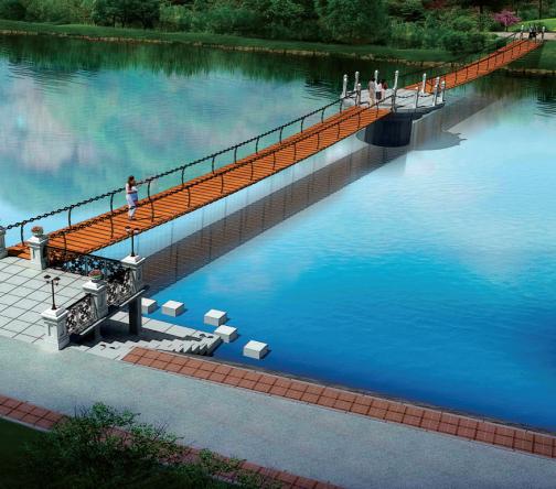 水上防腐木吊桥